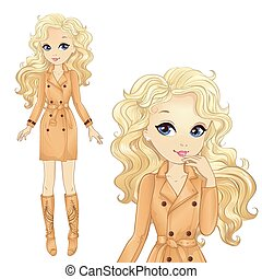 Vector illustration of beautiful fashion blonde girl in cool coat