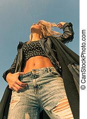 Blonde girl in jeans