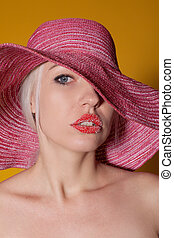blonde girl in Pink Hat red lips