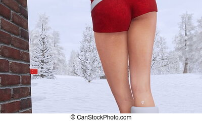 Blonde girl in sexy Santa Claus costume back view
