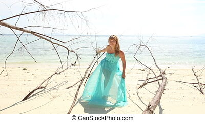 blonde girl in transparent dress poses on beach