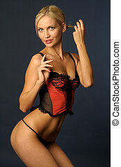 blonde girl in underwear - Beautiful blonde girl in red...