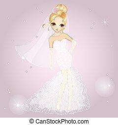 Blonde Girl In Wedding Dress