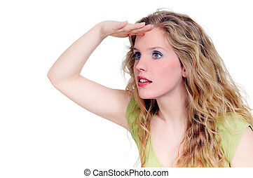 Blonde girl looks into the distance isolated on a white background