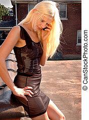 Blonde girl on phone
