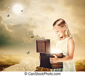 Blonde Girl Opening a Treasure Box - Happy Blonde Girl...