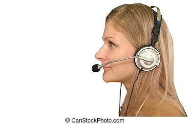 Blonde girl - phone operator.