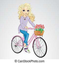 Blonde Girl Riding Pink Bicycle