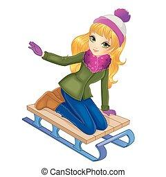 Blonde Girl Sledding In Winter