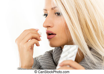 Blonde Girl Takes A Pill