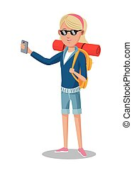 blonde girl tourist with smartphone backpack sunglasses