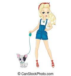 Blonde Girl Walking With Dog