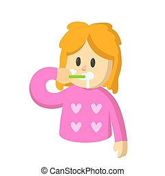 Blonde girl wearing pajamas brushing her teeth. Cartoon character girl with a toothbrush in her hand. Flat vector illustration, isolated on white background.