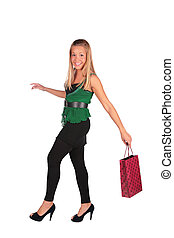 Blonde girl with bag