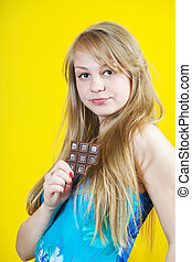 Blonde girl with chocolate