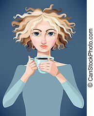 Blonde girl with coffee - Vector illustration of pretty...