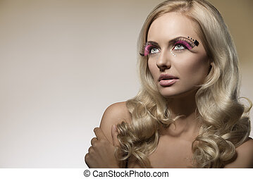 blonde girl with creative make-up