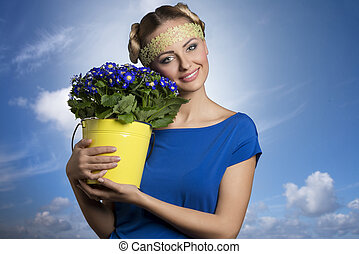 Blonde girl with flowers
