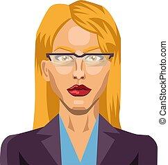 Blonde girl with glasses illustration vector on white background