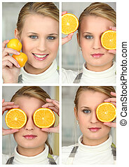 Blonde girl with orange