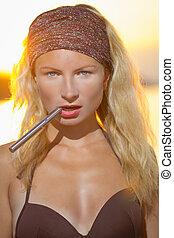 girl with the e-cigarette - blonde girl with the e-cigarette...