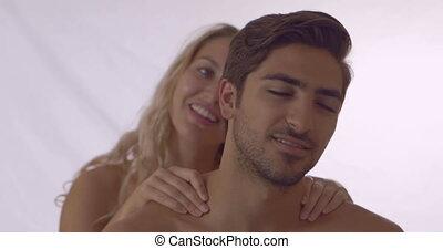 Blonde giving her boyfriend a shoul