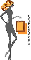 Blonde glamour shopping girl with purchase packs