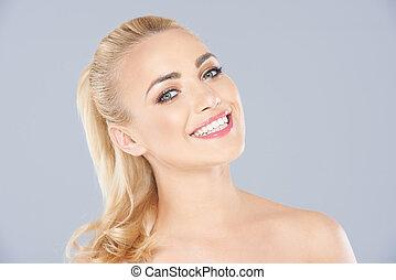 blonde , glimlachen, beaming, aantrekkelijk, vrouw