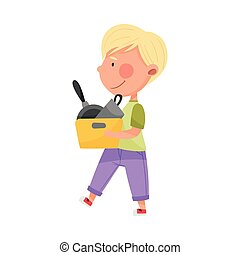 Blonde Haired Boy Character Carrying Sorted Garbage for Recycling Vector Illustration