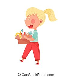 Blonde Haired Girl Character Carrying Carton Box with Food Waste for Recycling Vector Illustration