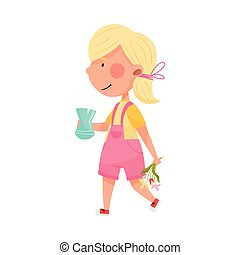 Blonde Haired Girl Character Carrying Sorted Garbage for Recycling Vector Illustration