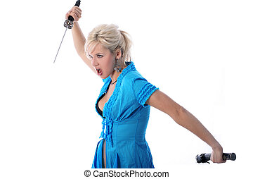blonde holding in her hands a katana