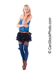 Blonde in a dress playfully posing