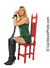 blonde in a red chair