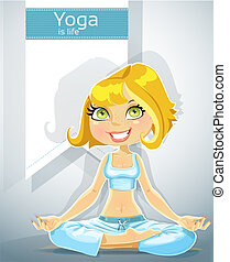 blonde in a yoga lotus position with bunner