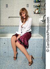 blonde in bathroom