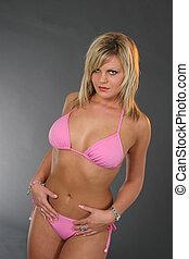 blonde , in, bikini