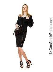 Blonde in black with the purse