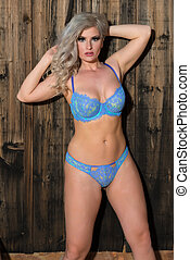 Blonde in blue - Beautiful statuesque blonde in blue...