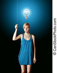 blonde in blue turn on the light