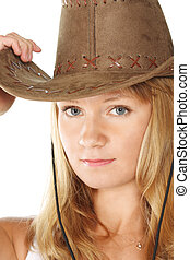 Blonde in brown hat