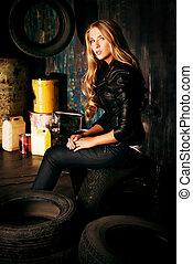 blonde in garage