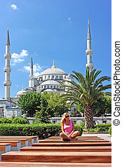 Blonde in Istanbul at the Blue Mosque - Beautiful blonde...