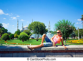 Blonde in Istanbul at the Blue Mosque