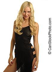 Blonde in lace dress