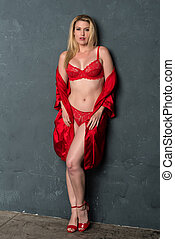Blonde in red