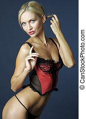 Blonde in red underwear