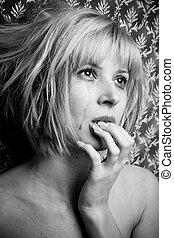 Blonde in tears - Image of a beautiful blonde in tears