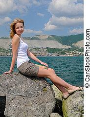 blonde in the beach