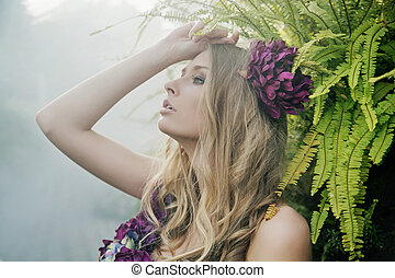 Blonde in the tropical forest